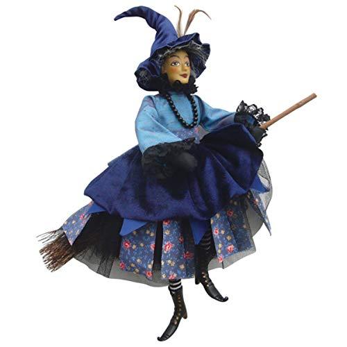 Hexen von Pendle-Katherine Hewitt Hexe fliegend (blau) 35cm