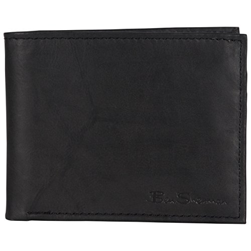 Ben Sherman Men's Slimfold Genuine Full-Grain Leather Anti-Theft RFID Security Wallet With ID Window, Marble Crunch Black Leather, Bi-Fold Wallet