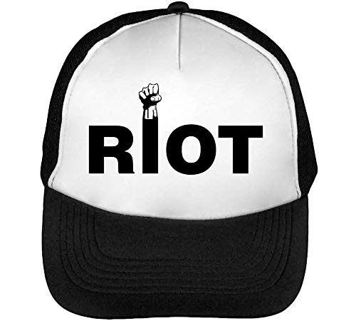 Riot Red Fonted Funny Combat Fashioned Spirited Slogan Gorras Hombre Snapback Beisbol Negro Blanco
