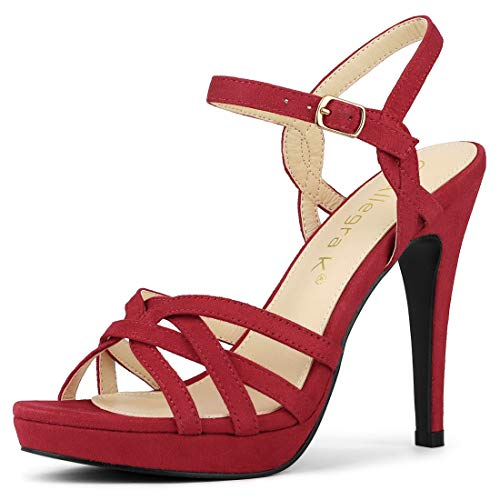 Allegra K Damen Peep Toe Cut Out Plateu Stiletto High Heels Sandalen Rot 38 EU