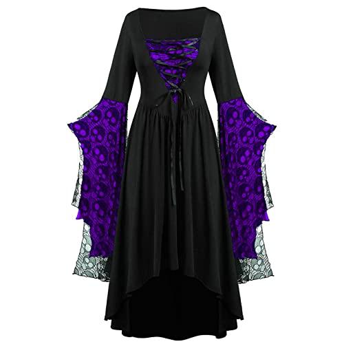 TMOYJPX Vestidos Medievales para Mujer Gotico de Malla Palacio Halloween Disfraz Gracioso Tallas Grandes, Disfraces Medievales Mujer Princesa Vestidos de Fiesta (Morado, M)