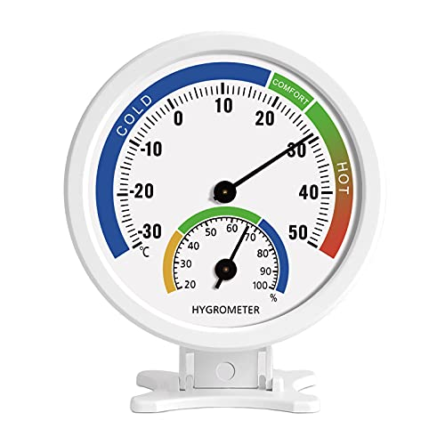 iMangoo Hygrometer Thermometer Indoor Outdoor Moisture Thermometer 3  Humidity Gauge Meter Monitor with Table Stand Temperature Humidity Meter for Patio, Pool, Kitchen, Garden, Wall, Greenhouse White