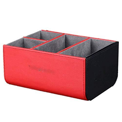 GFDFD Caja de Almacenamiento: Organizador del Soporte del Control Remoto Organizador de Control Remoto de Cuero Almacenamiento TV Control Remoto (Color : Red)