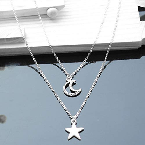 Jovono Multilayered Crescent Moon Pendant Necklaces Fashion Star Necklace Chain Jewelry for Women and Girls (SET1)