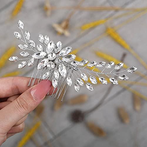 Runmi, forcine per capelli da sposa in argento, con cristalli, accessorio per capelli da sposa per donne e ragazze