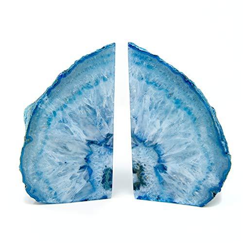 Legacy of Nature Buchstützen, poliert, 100 % authentisch, brasilianischer Achat, Geodenhälften mit geheimnisvollem Heilstein 2 - 4 Pounds blau