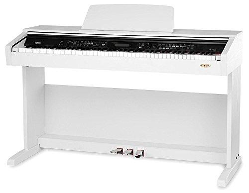 Classic Cantabile DP-A 310 SM 88-Tasten E-Piano - Digitalpiano mit Keyboard-Funktion/Begleitatomatik und Hammermechanik - 500 Sounds, Kopfhöreranschluss zum üben - USB Anschluss - Weiß Matt