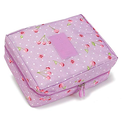 Toiletry Bag Travel Multifunction Cosmetic Bag Portable Make up Bag Waterproof Travel Hanging Makeup Organizer Bag for Women Girls (Violet cherry)