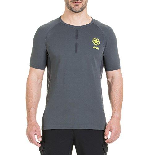 Jeep Homme sans Coutures Petite Étoile J7S T-Shirt S Dark Grey/Lime/Black