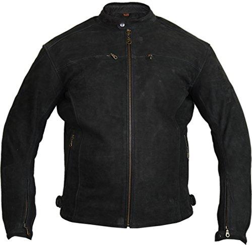 MDM Motorrad Lederjacke aus echtem Nubuk Leder in matt schwarz (3XL)