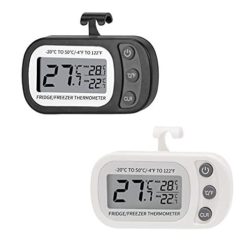 yVicv Kühlschrank Thermometer, 2 Stück Wasserdicht Gefrierschrank Thermometer Zur TemperaturüBerwachung Von KüHl- und GefriergeräTen, LCD-Display mit Haken