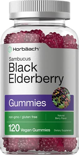 Black Elderberry Gummies | 120 Count | with Zinc and Vitamin C | Vegan, Non-GMO, Gluten Free Sambucus Extract for Adults | Natural Berry Flavor | by Horbaach