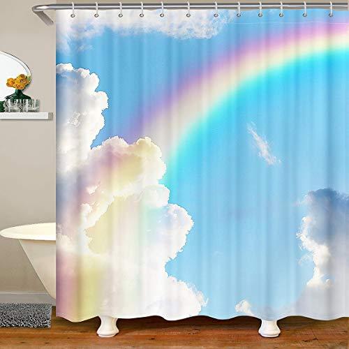 Loussiesd Mädchen Badezimmer Duschvorhang 180x180cm Girly Regenbogen Drucken Dusche Vorhang Bunt Hell Duschvorhang Textil Multicolor Natur Himmel Wasserdichtes Stände Bathtubs Dekor