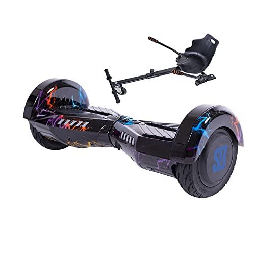 Transformers ThunderStorm - Hoverboard con hoverkart, patinete de 6,5 pulgadas, con altavoz Bluetooth, luces LED, motor de 700 W para niños y adultos