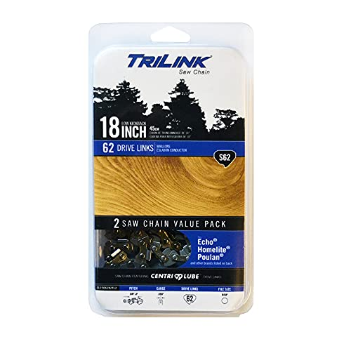 Trilink 3/8 LP .050 Gauge 62 Drive Links 18 in Chainsaw Chain Compatible With/Replacement For Black & Decker CS1518, Craftsman/Sears 3407, 34116, 35038, 35104, 35160, 35218 S62T - 91PX Chain Chainsaws