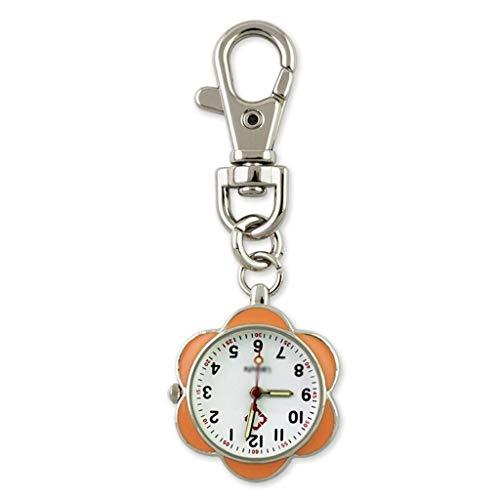 ZTMN Reloj de Bolsillo Vintage Reloj de Bolsillo con Llavero Reloj de Bolsillo con Flores Reloj de Cuarzo (Color: A)