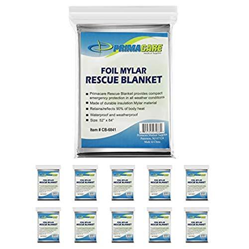Primacare HB-10 Emergency Foil Mylar Thermal Blanket (Pack of 10), 52' Length x 84' Width, Silver