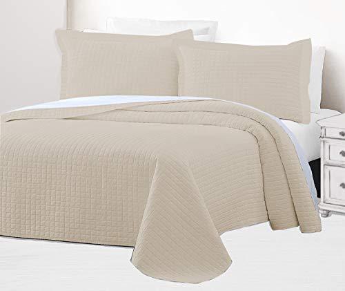 Infinite Weaves 2-teiliges Bettwäsche-Set für Doppelbett, Fadenzahl 300, 100 prozent Baumwollsatin, übergroße Tagesdecke mit Kissenbezügen, Gittermuster, luxuriös & leicht, reichhaltiger Boden