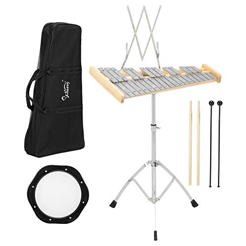 GLARRY 32 Notes Percussion Glockenspiel Bell Kit Xylophone Instrument Set with 8' Practice Pad, Music Stand, Mallets, Drum Sticks and Carrying Bag