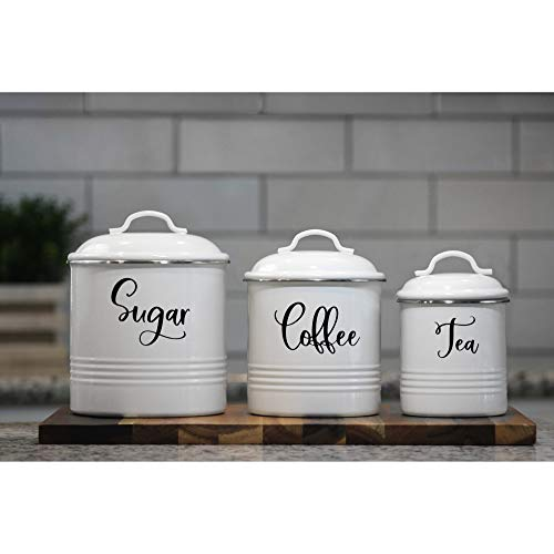 Home Acre Designs Collection Canister Sets For Kitchen Counter-Farmhouse Kitchen Decor-Rustic Kitchen Canisters Set of 3-Farmhouse Canisters Sets Kitchen-White Airtight Food Storage-Coffee Sugar Tea