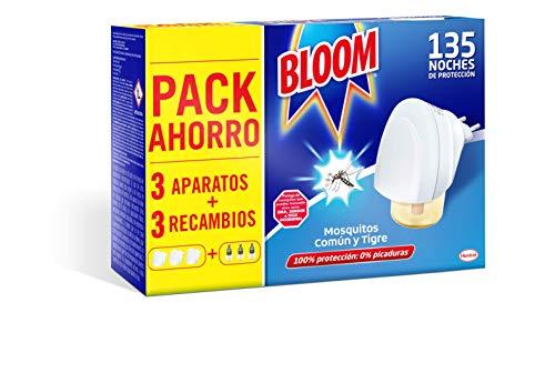 Bloom Eléctrico Líquido Contra Mosquitos Común y Tigre, 3 Aparatos + 3 Recâmbios