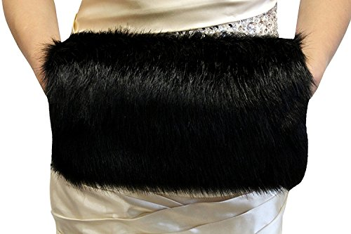 Dannifore Women's Winter Soft Bridal Faux Fur Handmuff Black(Free Size, Black)
