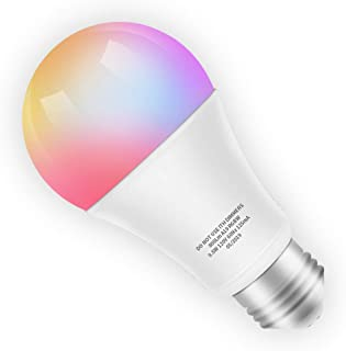 Smart LED Bulb WiFi E26 Dimmable Multicolor Light Bulb Compatible with Alexa, Echo, Google Home and IFTTT No Hub Required, A19 60W Equivalent RGBW Color Changing Bulb (9.5W), UL Listed (1Pack)