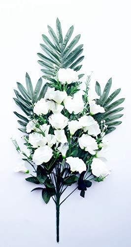 通用 2pcs Rosas Flores Artificiales Ramo 18 Cabezas, para Cementerio e Iglesias (Blanco)