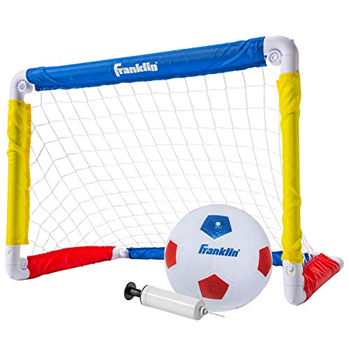 Franklin Sports Kids Mini Soccer Goal Set - Backyard Indoor Mini Net and Ball Set with Pump - Portable Folding Youth Soccer Goal Set - 24  x 16  , Red Blue Yellow