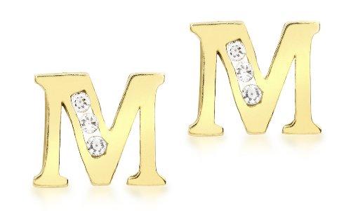 Carissima Gold Pendientes de mujer con oro amarillo de 9 K, circonita, Letra M