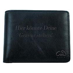 Herren Geldbörse mit Gravur personalisierbar mit Namen, Datum oder Logo | aus Leder mit Münzfach | mit Geschenkbox Geschenkidee für Männer | braun oder schwarz | der Marke COWstyle®
