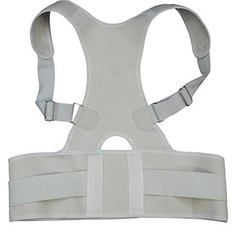 YLFC Einstellbare Orthopädische Zurück Haltung Unterstützung Hosenträger Gürtel Corrector Haltung Magentic Corrector Schulter Unterstützung Gürtel (Color : White, Size : XX-Large)