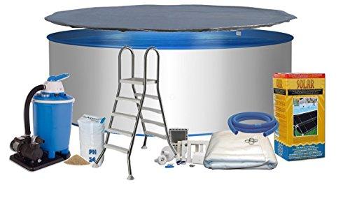 Pool Royal Rundform Ø 3,00m x 1,20m Stahlwand 0,6mm, Folie blau 0,6mm mit Keilbiese Bodenschutzvlies Abdeckplane Eco-Solar System Edelstahlleiter 2 x 4 Stufen mit Plattform (Variante wählbar) Sandfilteranlage Flow 7 mit 7,0m³/h Quarzfiltersand 25 KG Skimmer- und Schlauchanschluß-Set