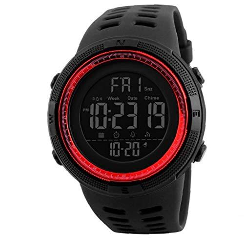 Reloj De Los Estudiantes Del Reloj Digital Electrónica Militar Con Cuero Brazalete De Fácil Lectura Impermeable Reloj Cronómetro Clásicos Utilidades Rojas