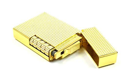 【C252】Chequered/チェカード フリントガスライター ゴールド/金 Deloovaブランドカード・保障カード付 高級感のあるチェック柄 横回し式