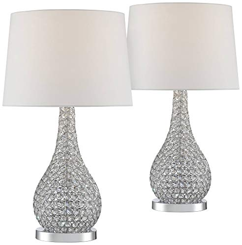 Kasey Modern Table Lamps Set of 2 Crystal Acrylic Beaded Silver Gourd White Drum Shade for Living Family Room Bedroom Office - Possini Euro Design