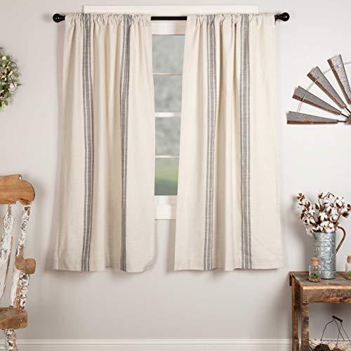 "Market Place Gray Grain Sack Stripe Panel Curtains, Set of 2, 63"" Long, Farmhouse Style Curtain, Gray & Cream Striped Window Drapes"