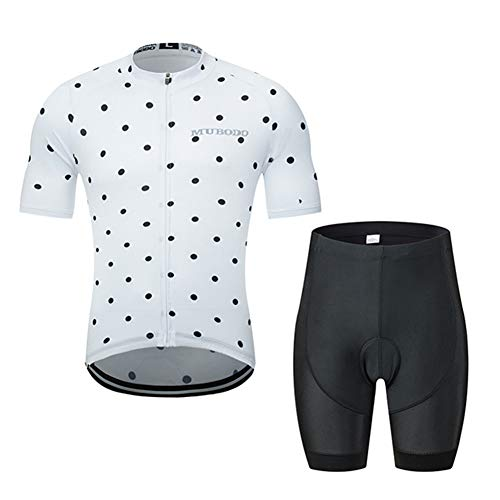 Mens Cycling Jersey Short Sleeve Set Summer White Wave Point Riding Clothing Suit, Road MTB Bike Breathable Quick-Drying Sportswear Set (Short,XL)