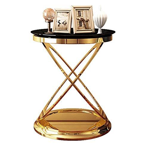 Home&Selected luxe zijtafel, rond, telefoontafel, hoektafel, nachtkastje, 50 x 55 cm (kleur: zwart) Zwart