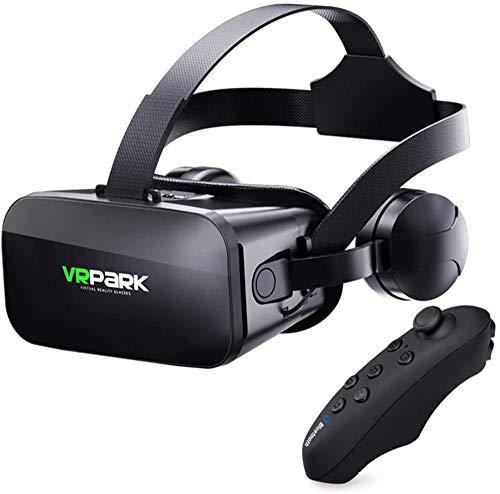 ZRSH J20 VR Brille, Virtual Reality-Brille kompatibel mit iPhone & Android 3D Brille Erleben Sie Spiele und 360 Grad Filme in 3D Mit Weicher & komfortabler,001