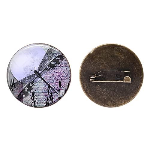 Broche redondo de cristal vintage de la libélula de cabujón lindo bolsos decoración abrigo broche para las mujeres