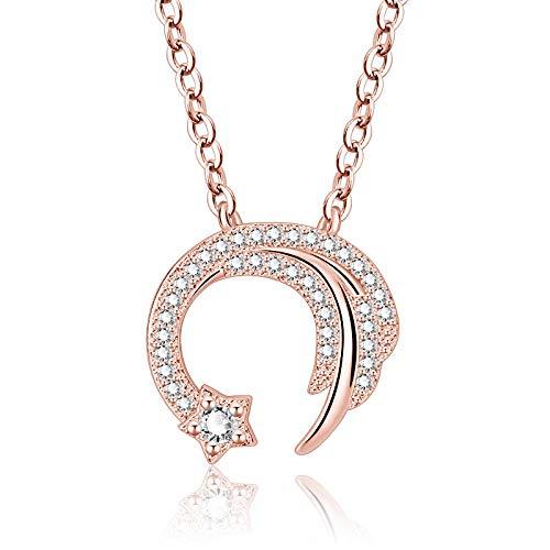 Collar de circonita Estrella de Amor de meteorito de Plata de Ley 925, Gargantilla de Cadena de clavcula para Mujer, Collier S-N346