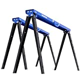 WORKPRO Portable Folding Sawhorse, 1000 lb. Weight Capacity, Heavy Duty 2 Pack, Pivoting Feet, Adjustable Height Legs, Easy Carry Handle