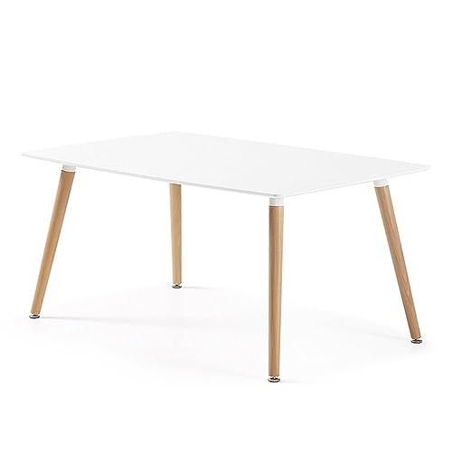 Designetsamaison Table à Manger rectangulaire scandinave Blanche 140cm - Brevik