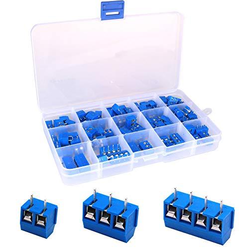 Greluma 100 piezas de 5 mm de paso,2 pines,3 pines y 4 pines,bloque de terminales de tornillo PCB 300V 16A,azul 85x2 pines,10x3 pines,5x4 pines)