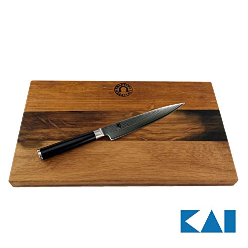 Kai Shun Classic Allzweckmesser DM-0701 | 15 cm Klinge | 32-Lagen Damaststahl + handgefertigtes Scheidebrett aus Fassholhz 34x21 cm | VK: 184,95 €