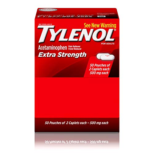 Tylenol Extra Strength Caplets with Acetaminophen Pain Reliever amp Fever Reducer 1 count has 50 Packets of 2 Capsules 1 Count