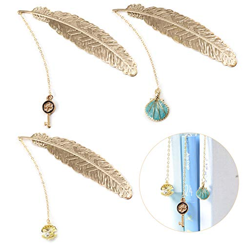 ZYNERY 3 PCS Bookmarks/Metal Feather Bookmarks/Pendant Bookmark/Page Markers/Beautiful Metal Bookmark/Colorful Assorted Book Markers, for Woman/Student/Kids/Girls(Blue Shell, Shell, Key)