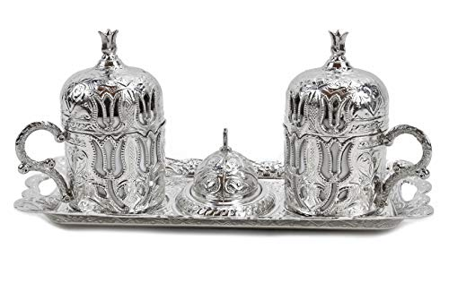 Aytek Kaffee Service Mokka Service Mokkaset Kahve SETI Türkische Mokkatassen Metall Porzellan