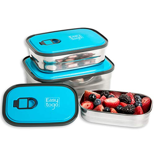 Leak Proof Bento Lunch Box Set | Reusable 3 Pack | Nesting Stainless Steel Metal Storage Food Containers for Men Women or Kids ●BPA Free● Work / School LunchesStainless Durable Sandwich Box (Blue)